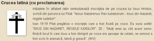 Crucea latina cu proclamarea