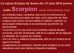 Ce aduce Eclipsa de Soare din 13 iulie 2018 pentru zodia Scorpion